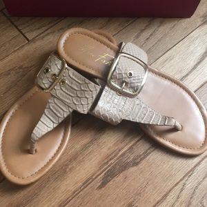 Gently used bone colored Marc Fisher sandals